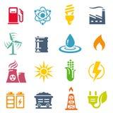 Bunter Energie-Konzept-Vektor-Ikonen-Satz Lizenzfreies Stockfoto