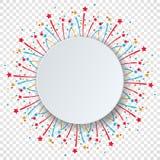 Bunter Feierhintergrund mit Konfettis und Feuerwerken der verschiedenen Partei Kreisen Sie Papierspracheblasenraum für jeden mögl Stockbild
