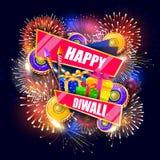Bunter Feuercracker mit Geschenkbox für glückliche Diwali-Festival-Feiertagsfeier des Indien-Grußhintergrundes Stockfotografie