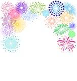 Bunter Feuerwerksrahmen auf weißem Hintergrund für Feierpartei Stockfotos