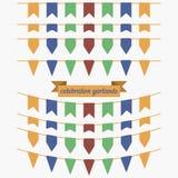 Bunter Flaggen- und Girlandensatz Gestaltungselemente für Dekoration Stockbilder