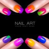 Bunter Fluor-Nagellack Art Nail mit Beispieltext Lizenzfreie Stockbilder