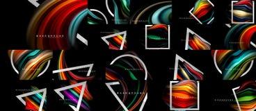 Bunter Flussposter, Mega- Sammlung, Bündel mischende flüssige abstrakte Hintergründe, flüssige modische Farben auf Schwarzem Kuns vektor abbildung