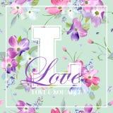 Bunter Frühling und Sommer-Blumen-Grafikdesign für T-Shirt, Mode, Blumendrucke, Gewebe Aquarell botanisch Lizenzfreies Stockfoto