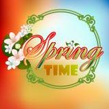 Bunter Frühlingszeit-Szenenhintergrund mit Blüte blüht Lizenzfreie Stockfotos