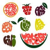 Bunter Fruchtbeschriftungssatz Stockbild