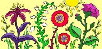 Bunter Garten blüht auf heller Sommerhintergrund-Vektorillustration Stockfotografie