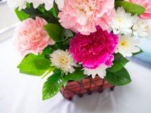 Bunter Gartennelkenblumenkorb für Besuchsgeduld auf Bett Stockbilder