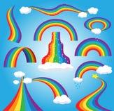 Bunter gebeugter Bogen des Regenbogenvektors, wenn Karikaturbogen- oder -bogenspektrum des Himmels mehrfarbiges von Farben mit re vektor abbildung