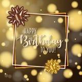 Bunter Geburtstagsrahmen mit Bogen Hintergrund verziert mit bokeh und Aufflackern lizenzfreie abbildung