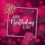 Bunter Geburtstagsrahmen mit Bogen Hintergrund verziert mit bokeh und Aufflackern vektor abbildung