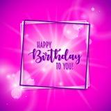 Bunter Geburtstagsrahmen mit bokeh und Aufflackernhintergrund Lizenzfreies Stockfoto