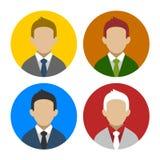 Bunter Geschäftsmann Userpics Icons Set in der Ebene Lizenzfreie Stockbilder