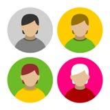 Bunter Geschäftsmann Userpics Icons Set in der Ebene Stockbilder