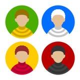 Bunter Geschäftsmann Userpics Icons Set in der Ebene Stockfoto