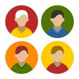 Bunter Geschäftsmann Userpics Icons Set in der Ebene Stockbild