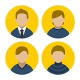 Bunter Geschäftsmann Userpics Icons Set in der Ebene Lizenzfreie Stockfotografie