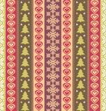 Bunter gestreifter Hintergrund mit Weihnachtsmotiven stock abbildung