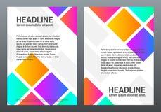 Bunter gewellter Hintergrund Schablonen mit hellen Steigungen Farbquadrate auf weißem Hintergrund Abstrakte geometrische Formen t Lizenzfreies Stockbild