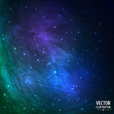 Bunter grüner und blauer kosmischer Hintergrund mit Lizenzfreies Stockbild