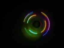 Bunter heller Neonkreis im Hintergrund des dunklen Schwarzen Stockfoto