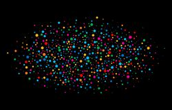 Bunter heller Regenbogen färbt runde Papiere der ovalen Wolkenkonfettis lokalisiert auf schwarzem Hintergrund Stockbilder