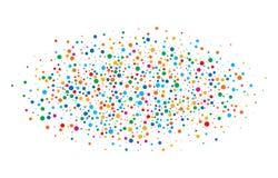 Bunter heller Regenbogen färbt runde Papiere der ovalen Wolkenkonfettis lokalisiert auf weißem Hintergrund Geburtstagsschablone Lizenzfreies Stockbild