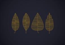 Bunter Herbstlaub eingestellte Linien auf Dunkelheit Stockfoto