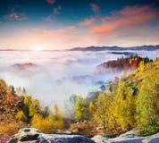 Bunter Herbstsonnenaufgang in den Karpatenbergen Sokilsky-ri Stockbild