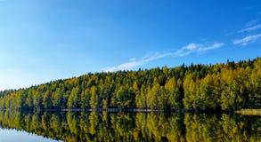 Bunter Herbstwald reflektiert vom See lizenzfreies stockfoto