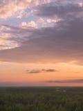 Bunter Himmel und Forest Silhouette bei Sonnenuntergang stockfotografie