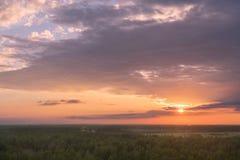 Bunter Himmel und Forest Silhouette bei Sonnenuntergang lizenzfreie stockfotos