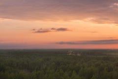 Bunter Himmel und Forest Silhouette bei Sonnenuntergang stockbild