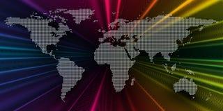 Bunter Hintergrund 3d mit punktierter Weltkarte, abstrakte Wellen, Linien, Punkte Helle Farbkurven, Strudel Bewegungsdesign Stockfoto