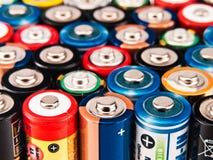 Bunter Hintergrund der Batterie Stockfotografie