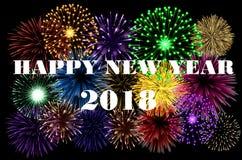Bunter Hintergrund des guten Rutsch ins Neue Jahr 2018 Stockbild