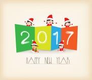 Bunter Hintergrund des guten Rutsch ins Neue Jahr 2017 Kinder Lizenzfreies Stockfoto
