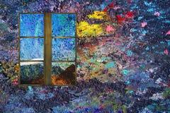 Bunter Hintergrund mit Bergblick vom Fenster stockfotografie