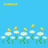 Bunter Hintergrund mit Blumen und Schmetterling Stockfotografie