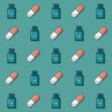 Bunter Hintergrund mit Muster von den Medizinflaschen und -pillen belebt stock abbildung
