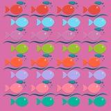 Bunter Hintergrund mit sich hin- und herbewegenden Fischen und Blasen Lizenzfreie Stockbilder