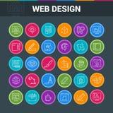 Bunter Ikonensatz des Webdesigns Stockfotos