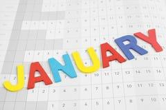Bunter Januar-Monat auf Kalenderpapier lizenzfreie stockfotografie