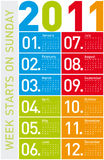 Bunter Kalender 2011 Lizenzfreie Stockbilder