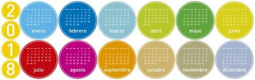 Bunter Kalender für Jahr 2018, auf spanisch Lizenzfreie Stockbilder