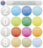 Bunter Kalender für Jahr 2018, Woche beginnt am Montag Lizenzfreies Stockbild