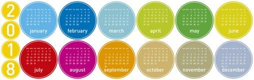 Bunter Kalender für Jahr 2018 Wochenanfänge am Sonntag Lizenzfreies Stockbild
