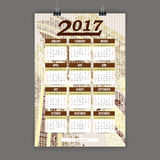 Bunter Kalender 2017 Zentangle handgemalt im Stil der Blumenmuster und des Gekritzels lizenzfreie abbildung