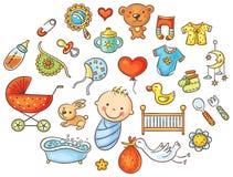 Bunter Karikatur-Baby-Satz Lizenzfreies Stockfoto
