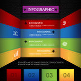 Bunter lederner schwarzer Hintergrund Infographic Stockbild